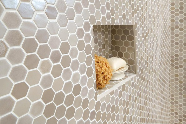 Uptown Glass Hexagon Mosaics in Alabaster
